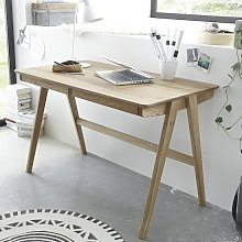 Heligan Wooden Computer Desk In Knotty Oak With 2