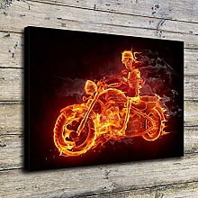 Hell Knight fire Motorcycle Rider Decorative