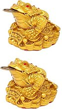 Hellery 2pcs Resin Chinese Feng Shui Money Frog,
