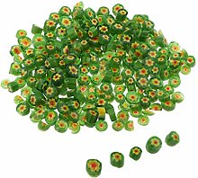 Hellery 50g Floral Green Millefiori Glass Fusible