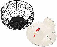 Hellery Metal Wire Egg Basket, Egg Holder Storage