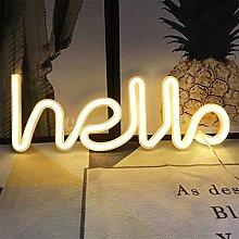 Hello Neon Signs Lights, Neon Lights for Bedroom,
