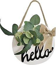 Hello Sign Front Door, Wood Hello Wreaths Sign for