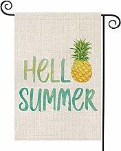 Hello Summer Pine Watercolor Garden Flag Vertical
