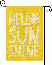 Hello Sun Shine Garden Flag Vertical Double Sided