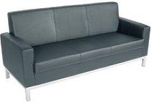 Helsinki 3 Seater Leather Sofa, Black