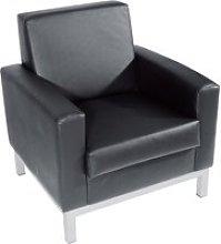 Helsinki Leather Armchair, Black