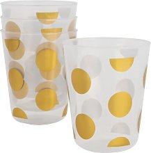 HEMA 4 Reusable Plastic Cups - Ø7.5 Cm - Gold Dots