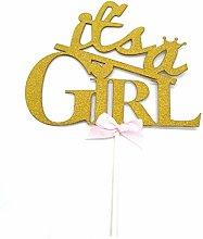 HEMARTY 2Pc It's A Girl Cake Topper, Its A
