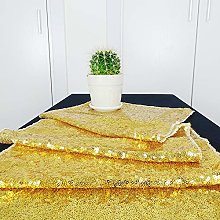 HeMiaor 12x72-Inch Rectangular Gold Sequin Table