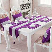 HeMiaor 13x98 Inch Rhinestones Table Runner Purple