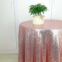 HeMiaor 50-Inch Rose Gold Round Sequin Tablecloth