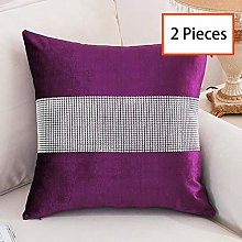 HeMiaor Set of 2 Purple Luxurious Cushion Pillow