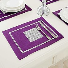 HeMiaor Set of 2 Table Mats Purple Luxurious
