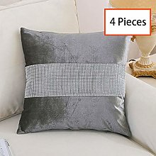 HeMiaor Set of 4 Grey Elegant Pillow Cases Velvet