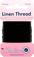 Hemline H1001/04 Black 100% Linen Strong Mending