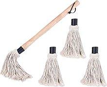 HEMOTON 1 Set BBQ Basting Mop with 4 Replacement