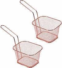 Hemoton 2 Pcs Frying Basket Mini Square Chip