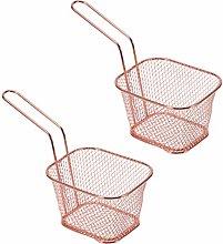 Hemoton 2 Pcs Frying Basket Mini Square Chip