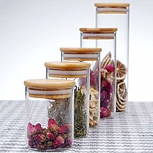 Hemoton 250ml Glass Jars with Bamboo Lids Silicon