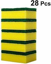 Hemoton 28pcs Sponge Scouring Pads Dishwashing