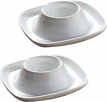 Hemoton 2pcs Ceramic Egg Cup Porcelain Egg Stand