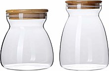 Hemoton 2pcs Glass Storage Jar with Bamboo Lids