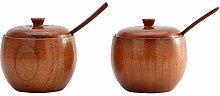 Hemoton 2PCS/Set Natural Wood Tableware Spice Jar