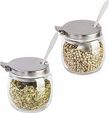 Hemoton 2PCS Spice Jars Glass Round Salt Pepper