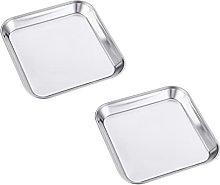 HEMOTON 2pcs Square Serving Platter Stainless