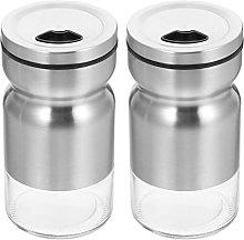 HEMOTON 2pcs Steel Salt and Pepper Shakers Glass