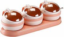 Hemoton 3-Cell Spice Jar Ball Shape Seasoning Jar