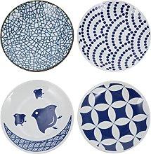 HEMOTON 4Pcs Ceramic Sauce Dish Dipping Bowls