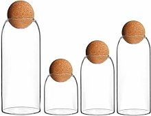Hemoton 4pcs Glass Jars with Airtight Seal Ball