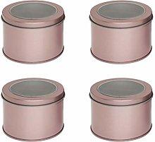 Hemoton 4pcs Round Metal Tins with lids Candle