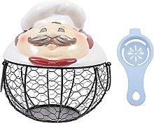 HEMOTON Ceramic Egg Storage Basket Iron Wire Hen