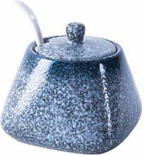 Hemoton Ceramic Seasoning Jar with Spoon and Lid