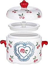 HEMOTON Ceramic Stew Pot Steam Soup Bowl Steaming