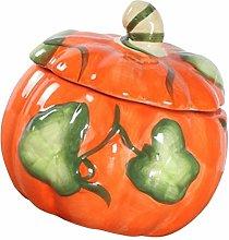 Hemoton Ceramic Tea Canister Pumpkin Shape Tea