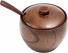 Hemoton Creative Wooden Spice Seasoning Pot Salt