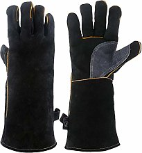 Hemoton Double Layer Cowhide Leather Gloves Heat