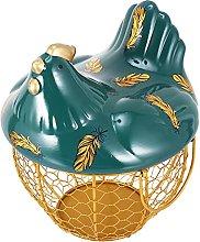 Hemoton Egg Basket with Chicken Lid Iron Wire Egg