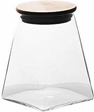 Hemoton Glass Canister Jar Geometric Airtight Food
