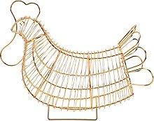 Hemoton Metal Wire Chicken Design Egg Basket