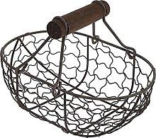 HEMOTON Metal Wire Egg Basket Gathering Basket