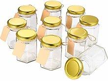 Hemoton Set of 10 Mini Jam Jar, 180ml, 6oz,