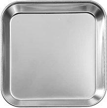 HEMOTON Stainless Steel Dinner Plate Square Food