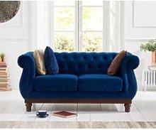Henbury Chesterfield Blue Plush 2 Seater Sofa