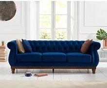 Henbury Chesterfield Blue Plush 3 Seater Sofa