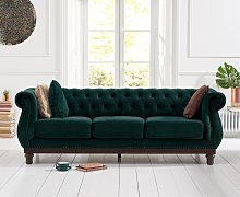 Henbury Chesterfield Green Velvet 3 Seater Sofa